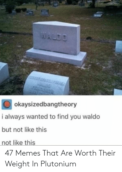 Waldo: okaysizedbangtheory  i always wanted to find you waldo  but not like this  not like this 47 Memes That Are Worth Their Weight In Plutonium
