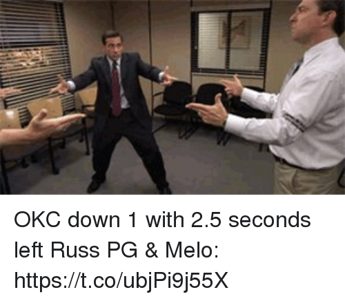 Memes, 🤖, and Down: OKC down 1 with 2.5 seconds left  Russ PG & Melo:  https://t.co/ubjPi9j55X