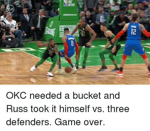 Game, Three, and Game Over: OKC needed a bucket and Russ took it himself vs. three defenders.  Game over.
