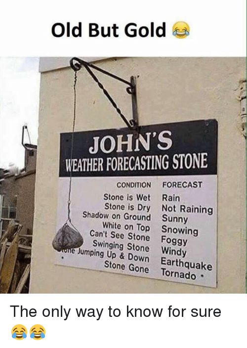 Memes, Earthquake, and Forecast: Old But Gold  JOHN'S  WEATHER FORECASTING STONE  CONDITION  FORECAST  Stone is Wet Rain  Stone is Dry Not Raining  Shadow on Ground Sunny  White on Top Snowing  Can't See Stone Foggy  e Swinging Stone Windy  Jumping Up Down Earthquake  Stone Gone The only way to know for sure😂😂