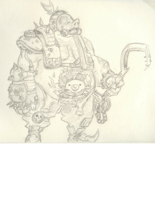 Favorite Character: Old drawing of Roadhog i did, favorite character in Overwatch, hes character desing is awesome (: