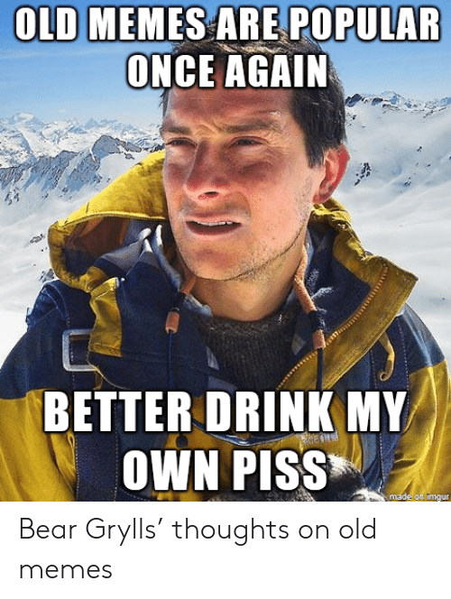 Bear Grylls: OLD MEMES ARE POPULAR  ONCE AGAIN  BETTER DRINK MY  OWN PISS  made on imgur Bear Grylls' thoughts on old memes