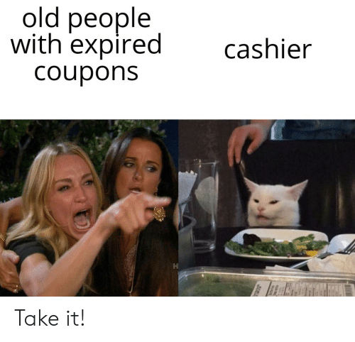 Old People, Old, and People: old people  with expired  cashier  Coupons Take it!