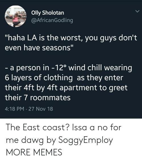 "Chill, Dank, and Memes: Olly Sholotan  @AfricanGodling  ""haha LA is the worst, you guys don't  even have seasons""  - a person in -12o wind chill wearing  6 layers of clothing as they enter  their 4ft by 4ft apartment to greet  their 7 roommates  4:18 PM-27 Nov 18 The East coast? Issa a no for me dawg by SoggyEmploy MORE MEMES"