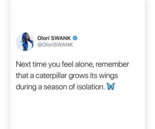 Being Alone, Time, and Wings: Olori SWANK  @OlorisWANK  Next time you feel alone, remember  that a caterpillar grows its wings  during a season of isolation. W