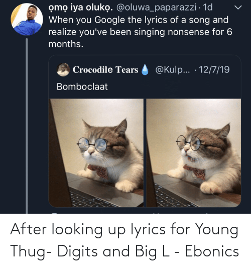 paparazzi: omọ iya oluko. @oluwa_paparazzi · 1d  When you Google the lyrics of a song and  realize you've been singing nonsense for 6  months.  @Kulp... · 12/7/19  Crocodile Tears  Bomboclaat After looking up lyrics for Young Thug- Digits and Big L - Ebonics