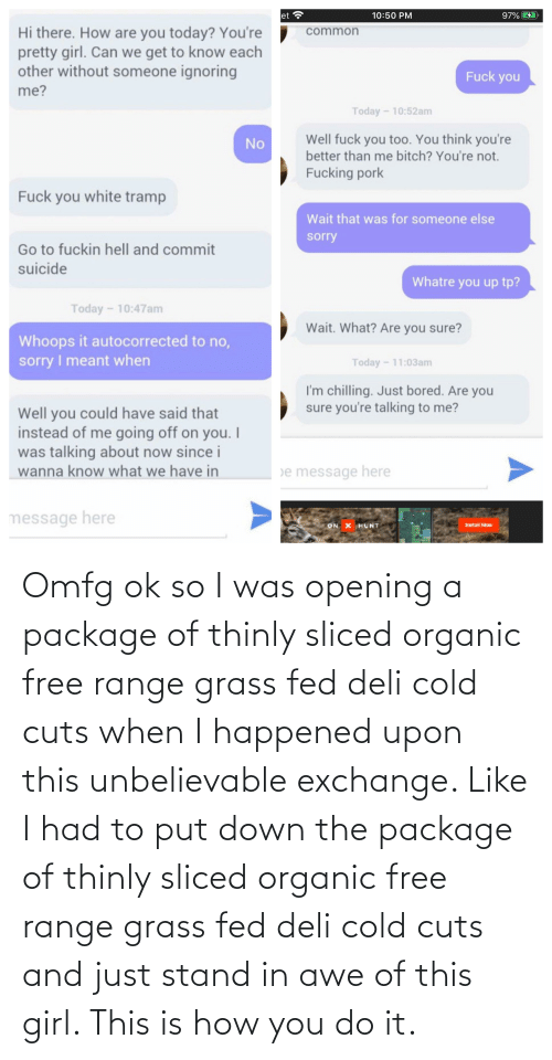 awe: Omfg ok so I was opening a package of thinly sliced organic free range grass fed deli cold cuts when I happened upon this unbelievable exchange. Like I had to put down the package of thinly sliced organic free range grass fed deli cold cuts and just stand in awe of this girl. This is how you do it.