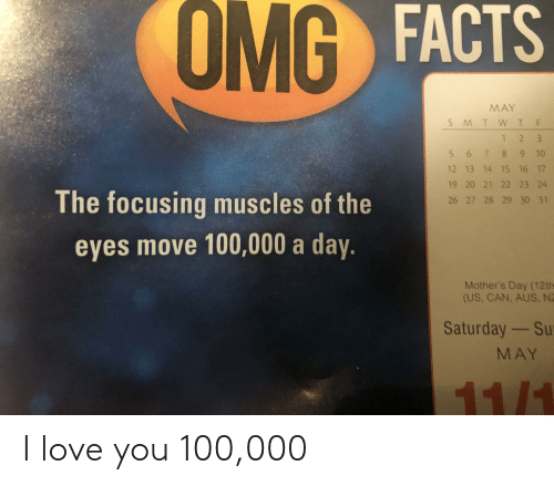 Facts, Love, and Mother's Day: OMG  G FACTS  MAY  5 6 7 8 9 10  12 13 14 15 16 17  19 20 21 22 23 24  The focusing muscles of the  26 27 28 29 30 31  eyes move 100,000 a day.  Mother's Day (12th  (US, CAN, AUS, N  Saturday-Su  MAY I love you 100,000