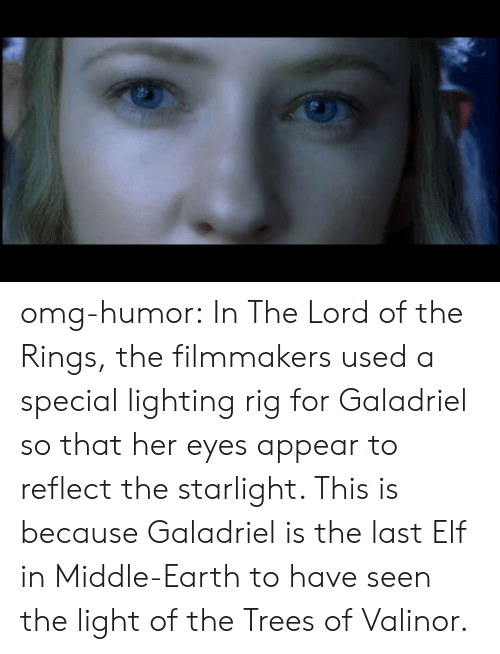 Lord of the Rings: omg-humor:  In The Lord of the Rings, the filmmakers used a special lighting rig for Galadriel so that her eyes appear to reflect the starlight. This is because Galadriel is the last Elf in Middle-Earth to have seen the light of the Trees of Valinor.