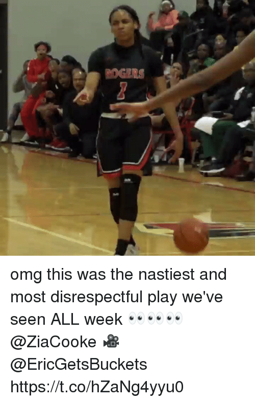 Memes, Omg, and 🤖: omg this was the nastiest and most disrespectful play we've seen ALL week 👀👀👀 @ZiaCooke 🎥 @EricGetsBuckets https://t.co/hZaNg4yyu0