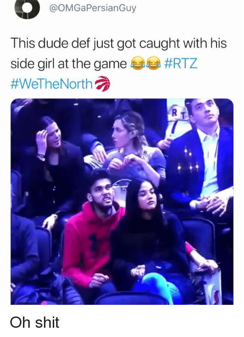 Dude, Funny, and Shit: @OMGaPersianGuy  This dude def just got caught with his  side girl at the game #RTZ  #WelheNorth  R T Oh shit