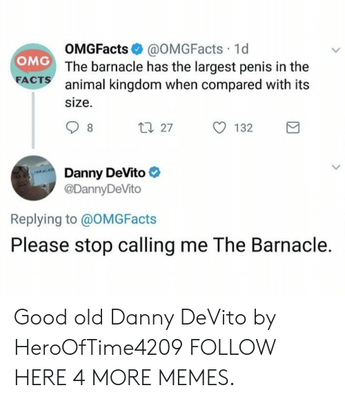 animal kingdom: OMGFacts @OMGFacts 1d  The barnacle has the largest penis in the  animal kingdom when compared with its  size.  OMG  FA  CTS  ロ27  132  Danny DeVito  @DannyDeVito  Replying to @OMGFacts  Please stop calling me The Barnacle. Good old Danny DeVito by HeroOfTime4209 FOLLOW HERE 4 MORE MEMES.