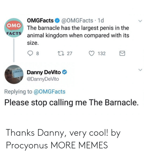 animal kingdom: OMGFacts @OMGFacts 1d  The barnacle has the largest penis in the  animal kingdom when compared with its  size.  OMG  FA  CTS  27  132  Danny DeVito  @DannyDeVito  Replying to @OMGFacts  Please stop calling me The Barnacle. Thanks Danny, very cool! by Procyonus MORE MEMES