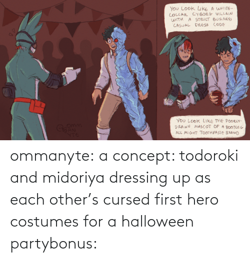 each other: ommanyte:  a concept: todoroki and midoriya dressing up as each other's cursed first hero costumes for a halloween partybonus:
