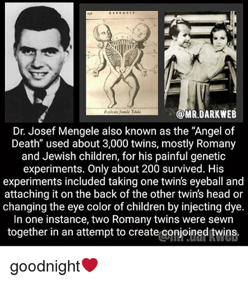 """eye color: OMR.DARKWEB  Dr. Josef Mengele also known as the """"Angel of  Death"""" used about 3,000 twins, mostly Romany  and Jewish children, for his painful genetic  experiments. Only about 200 survived. His  experiments included taking one twin's eyeball and  attaching it on the back of the other twin's head or  changing the eye color of children by injecting dye.  In one instance, two Romany twins were sewn  together in an attempt to create conjoined twins. goodnight❤️"""