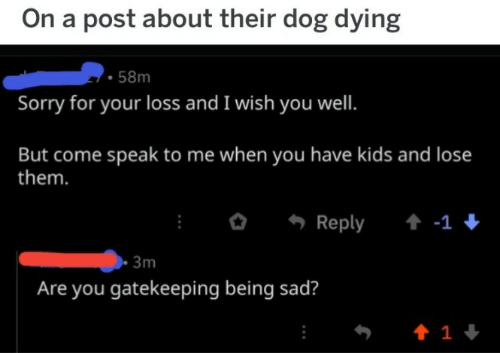speak to me: On a post about their dog dying  58m  Sorry for your loss and I wish you well.  But come speak to me when you have kids and lose  them.  Reply  -1  3m  Are you gatekeeping being sad?