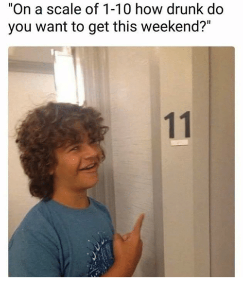 """Scaling: """"On a scale of 1-10 how drunk do  you want to get this weekend?"""""""