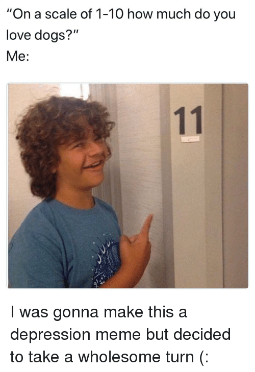 """Depression Meme: """"On a scale of 1-10 how much do you  love doas?""""  Me: <p>I was gonna make this a depression meme but decided to take a wholesome turn (:</p>"""