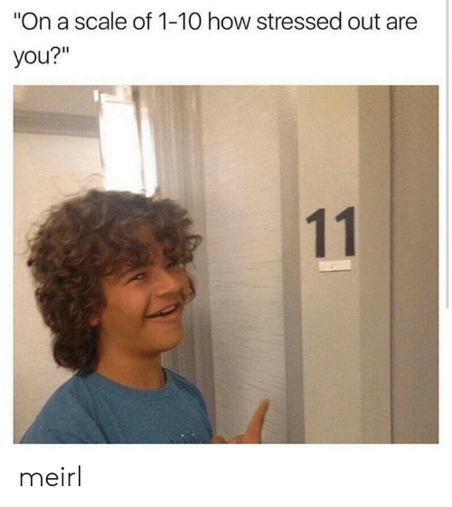 """scale: """"On a scale of 1-10 how stressed out are  you?""""  11 meirl"""