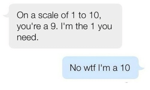 Wtf, You, and Scale: On a scale of 1 to 10,  you're a 9. I'm the 1 you  need.  No wtf I'm a 10