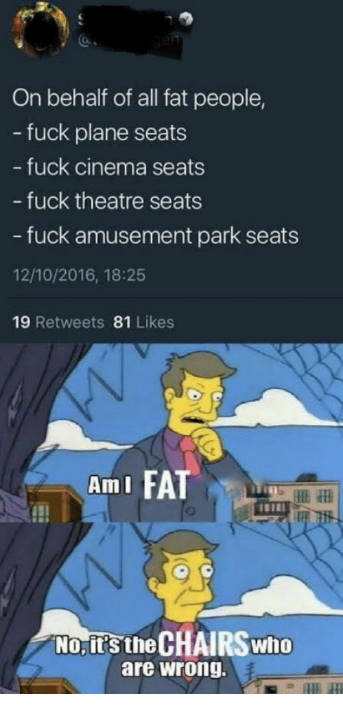 fat people: On behalf of all fat people,  - fuck plane seats  fuck cinema seats  - fuck theatre seats  - fuck amusement park seats  12/10/2016, 18:25  19 Retweets 81 Likes  AmI FA  No, it's the CHAIRS who  are wrong.