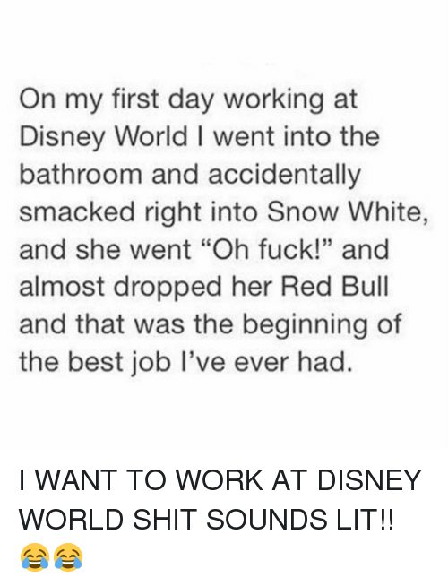 """Disney, Disney World, and Funny: On my first day working at  Disney World I went into the  bathroom and accidentally  smacked right into Snow White,  and she went """"Oh fuck!"""" and  almost dropped her Red Bull  and that was the beginning of  the best job I've ever had.  35 I WANT TO WORK AT DISNEY WORLD SHIT SOUNDS LIT!! 😂😂"""