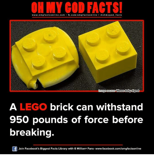 Withstanded: ON MY GOD FACTS!  www.om facts online.com I fb.com  omg facts on  line l oh my god facts  lmagesource Wawa daily digest  A LEGO brick can withstand  950 pounds of force before  breaking.  Of Join Facebook's Biggest Facts Library with 6 Million+ Fans- www.facebook.com/omgfactsonline
