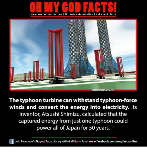 Withstanded: ON MY GOD FACTS!  www.om g facts online.com I fb.com/om facts on  line leo h my god facts  ce VWCCFtech  mage  The typhoon turbine can withstand typhoon-force  winds and convert the energy into electricity. Its  inventor, Atsushi Shimizu, calculated that the  captured energy from just one typhoon could  power all of Japan for 50 years.  Join Facebook's Biggest Facts Library with 6 Million+ Fans- www.facebook.com/omgfactsonline