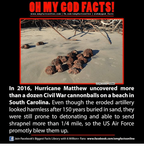 detonation: ON MY GOD FACTS!  www.omg facts online.com I fb.com/om g factsonline I eoh facts  hmygod Tumblr  mage  In 2016, Hurricane Matthew uncovered more  than a dozen Civil War cannonballs on a beach in  South Carolina. Even though the eroded artillery  looked harmless after 150 years buried in Sand, they  were still prone to detonating and able to send  shrapnel more than 1/4 mile, so the US Air Force  promotly blew them up.  Join Facebook's Biggest Facts Library with 6 Million+ Fans- www.facebook.com/omgfactsonline