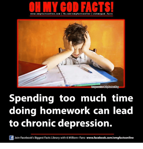 Babycenter: ON MY GOD FACTS!  www.omg facts online.com I fb.com/orm g facts online leoh my good facts  BabyCenter Blog  Spending too much time  doing homework can lead  to chronic depression.  Join Facebook's Biggest Facts Library with 6 Million+ Fans- www.facebook.com/omgfactsonline