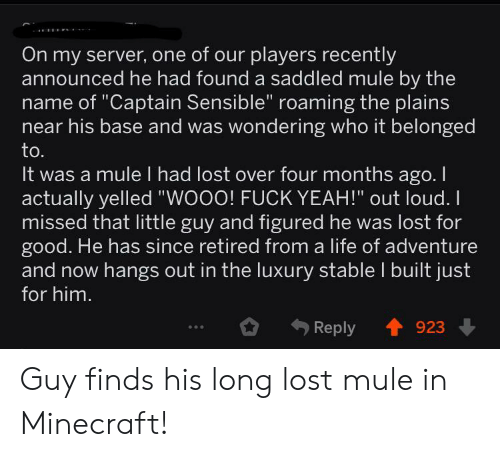 "Life, Minecraft, and Yeah: On my server, one of our players recently  announced he had found a saddled mule by the  name of ""Captain Sensible"" roaming the plains  near his base and was wondering who it belonged  to.  It was a mule I had lost over four months ago. I  actually yelled ""WOOO! FUCK YEAH!"" out loud.  missed that little guy and figured he was lost for  good. He has since retired from a life of adventure  and now hangs out in the luxury stable I built just  for him.  Reply  923 Guy finds his long lost mule in Minecraft!"