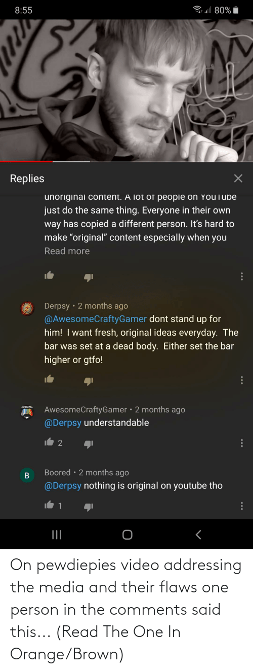 flaws: On pewdiepies video addressing the media and their flaws one person in the comments said this... (Read The One In Orange/Brown)
