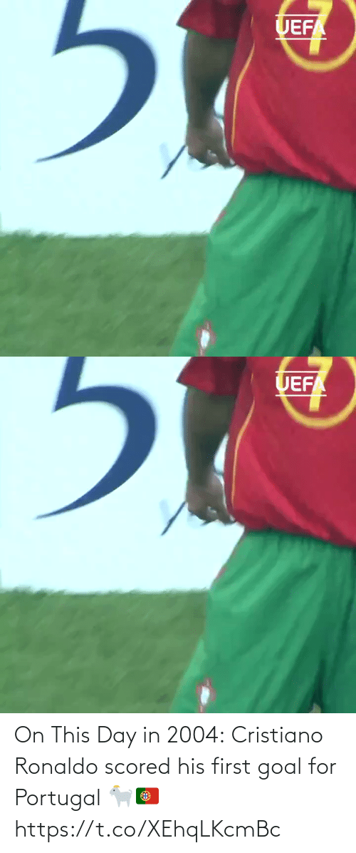 Ronaldo: On This Day in 2004:  Cristiano Ronaldo scored his first goal for Portugal 🐐🇵🇹 https://t.co/XEhqLKcmBc