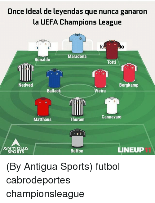 Sports, Champions League, and Ronaldo: Once Ideal de leyendas que nunca ganaron  la UEFA Champions League  Maradona  Ronaldo  Totti  Nedved  Bergkamp  Ballack  Vieira  Cannavaro  Matthǎus  Thuram  ANTIGUA  SPORTS  Buffon  LINEUP (By Antigua Sports) futbol cabrodeportes championsleague