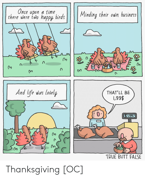 lovely: Once upon a time  there were two happy birds  Minding their own business  And life was lovely  THAT'LL BE  \,99$  $1.99  TRUE BUTT FALSE  je  C Thanksgiving [OC]