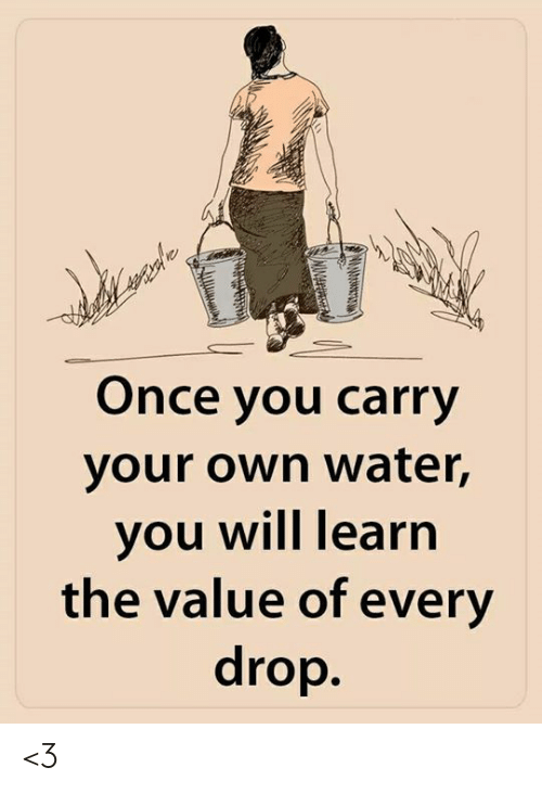 Memes, Water, and 🤖: Once you carry  your own water,  you will learn  the value of every  drop <3