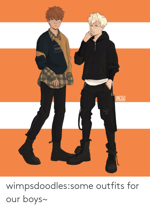 ang: ONDON NE  HOMM  OKYO LOS ANG  MCZK  ORIGINS wimpsdoodles:some outfits for our boys~