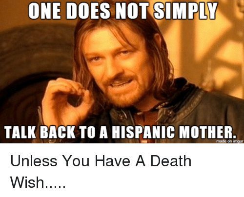 Motheres: ONE DOES NOT SIMPLY  TALK BACK TO A HISPANIC MOTHER  made on imgur Unless You Have A Death Wish.....