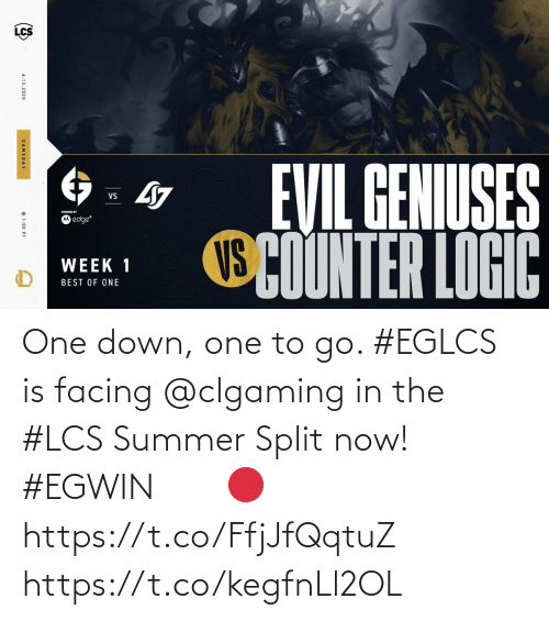 To Go: One down, one to go. #EGLCS is facing @clgaming in the #LCS Summer Split now! #EGWIN⠀ ⠀ 🔴 https://t.co/FfjJfQqtuZ https://t.co/kegfnLl2OL