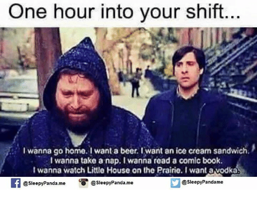 Beer, Little House on the Prairie, and Memes: One hour into your shift  I wanna go home. I want a beer. I want an ice cream sandwich.  I wanna take a nap. I wanna read a comic book.  I wanna watch Little House on the Prairie. I want avodka  @sleepy Pandame  Sleepy Panda.me  O @Sleepy Panda.me