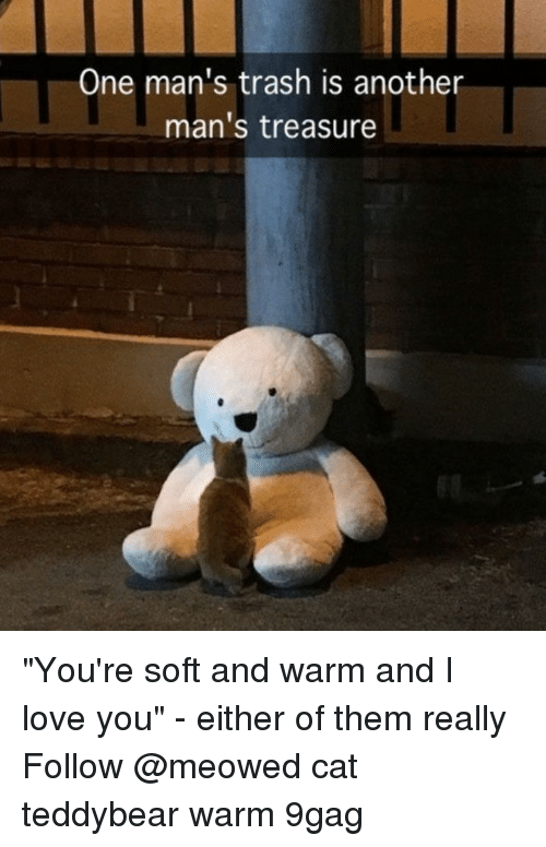 "9gag, Love, and Memes: One man's trash is another  man's treasure ""You're soft and warm and I love you"" - either of them really⠀ Follow @meowed cat teddybear warm 9gag"