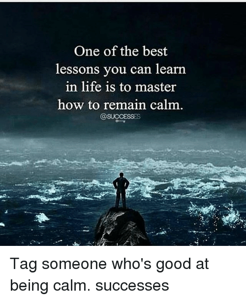 Life, Memes, and Best: One of the best  lessons you can learn  in life is to master  how to remain calm Tag someone who's good at being calm. successes