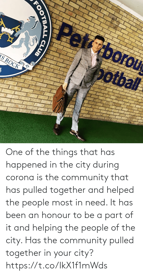 corona: One of the things that has happened in the city during corona is the community that has pulled together and helped the people most in need. It has been an honour to be a part of it and helping the people of the city.   Has the community pulled together in your city? https://t.co/IkX1f1mWds