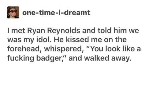 "badger: one-time-i-dreamt  I met Ryan Reynolds and told him we  was my idol. He kissed me on the  forehead, whispered, ""You look like  fucking badger,"" and walked away."