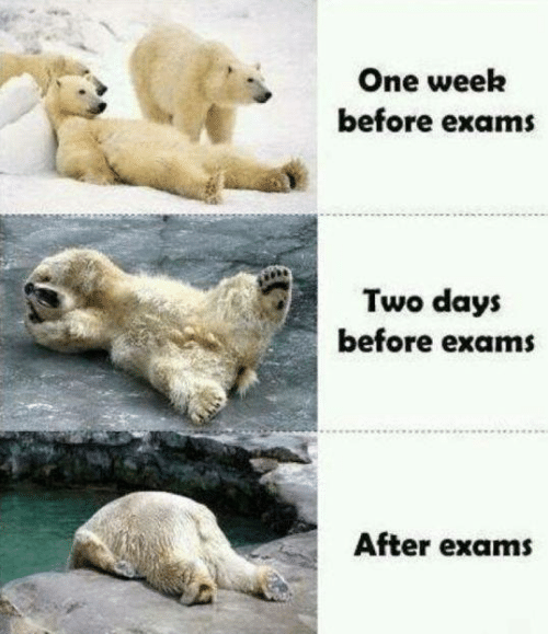 Days Before: One week  before exams  Two days  before exam  After exams