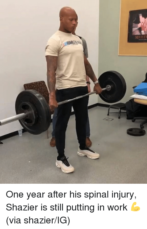 Work, One, and Via: One year after his spinal injury, Shazier is still putting in work 💪  (via shazier/IG)