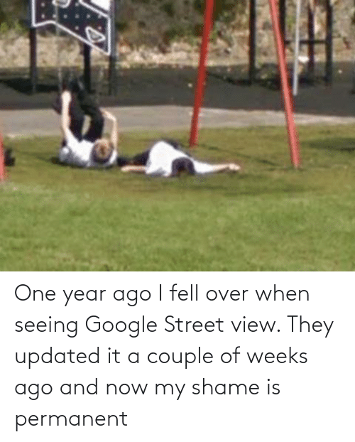 year: One year ago I fell over when seeing Google Street view. They updated it a couple of weeks ago and now my shame is permanent