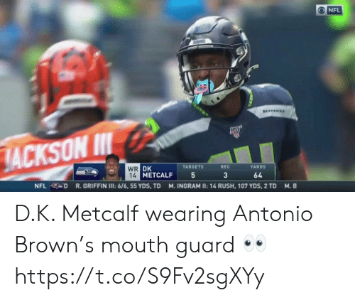 Football, Nfl, and Sports: ONFL  SEAHAWHS  JACKSON I  WR DK  14 METCALF  TARGETS  REC  YARDS  3  64  R.GRIFFIN I: 6/6, 55 YDS, TD  NFL D  M. INGRAM II: 14 RUSH, 107 YDS, 2 TD  M. B D.K. Metcalf wearing Antonio Brown's mouth guard 👀 https://t.co/S9Fv2sgXYy