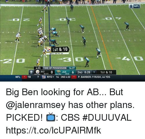 Barber, Memes, and Cbs: ONFL  st & 10  BALL ON PIT 26  2  310  4:55 TIME OF POSSESSION 16:37  62-11  凹  JAX6 2ND 8:28 9 1ST & 10  2ND 4:50.,  NFLⓡTB  7ny NYG-  14  P. BARBER: 9 RUSH, 44 YDS Big Ben looking for AB...  But @jalenramsey has other plans.  PICKED!  📺: CBS #DUUUVAL https://t.co/lcUPAlRMfk
