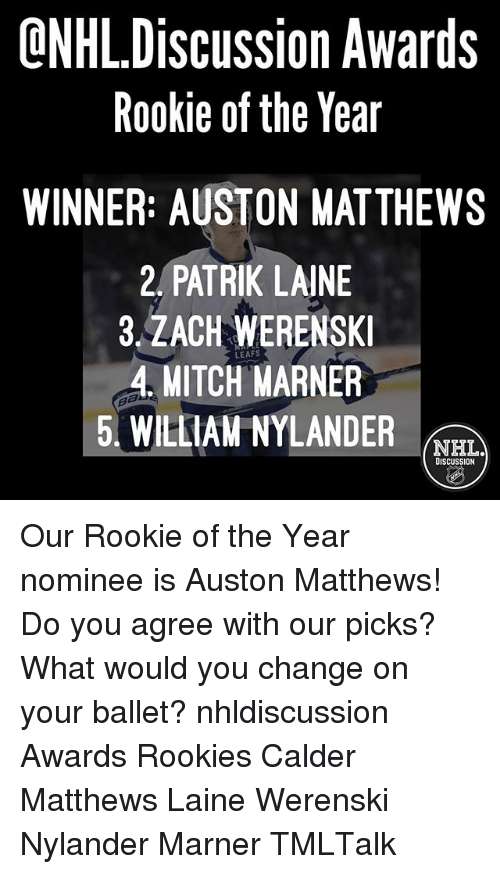 calder: ONHLDiscussion Awards  Rookie of the Year  WINNER: AUSTON MATTHEWS  2, PATRIK LAINE  3.ZACH WERENSKI  4, MITCH MARNER  5, WILLIAM NYLANDER rem  NHL.  DISCUSSION  I ON  wrT  AIT  Aa  KRD  YM  NNNA  Oe  AERL  ■I h  NDRAY  I 0 K  EMN  St。  SfTIW  IK W  0 S  HM  Ce  e U ACT LI  CA  PA A MI-  Sk APAM  ■I 0  OR  4V  RE Our Rookie of the Year nominee is Auston Matthews! Do you agree with our picks? What would you change on your ballet? nhldiscussion Awards Rookies Calder Matthews Laine Werenski Nylander Marner TMLTalk